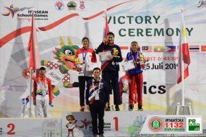 22ก.ค.62 น.ส.ปรางทิพย์ ชิดโคกกรวด นักกีฬาโรงเรียนกีฬาเทศบาลนครฯ คว้าเหรียญทองกระโดดสูงหญิง ในการแข่งขัน กรีฑาอาเซียนสคูลเกมส์ ที่ประเทศอินโดนีเซีย