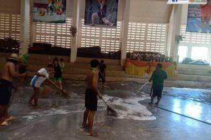 1 ก.ค.63 เตรียมพร้อมเปิดภาคเรียนและทำความสะอาดโรงยิม