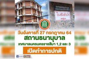20 ก.ค.64 โรงรับจำนำเทศบาลทั้ง3 แห่ง เปิดทำการปกติ